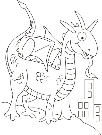 Dragon in dinosaurs shape looking for prey coloring pages | Download Free Dragon in dinosaurs shape looking for prey coloring pages for kids | Best Coloring Pages
