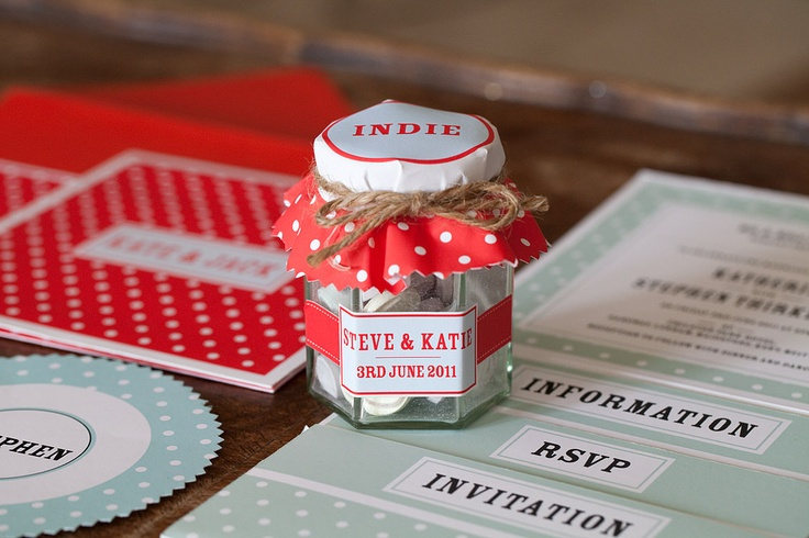 Red and white Dotty spotty wedding sweet jar favours