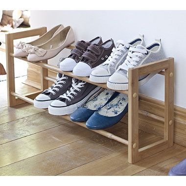 Extending Wooden Shoe Rack. Need one of these and this looks nice.