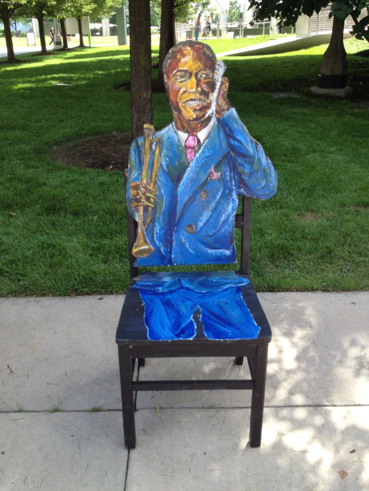 Lou Armstrong  (Acrylic on wooden furniture) Created by one of our talented ASM teens.