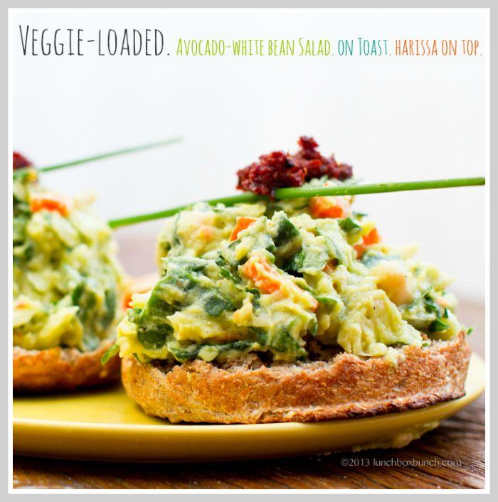 Veggie-Loaded Avocado White Bean Salad on Toast. + Harissa.