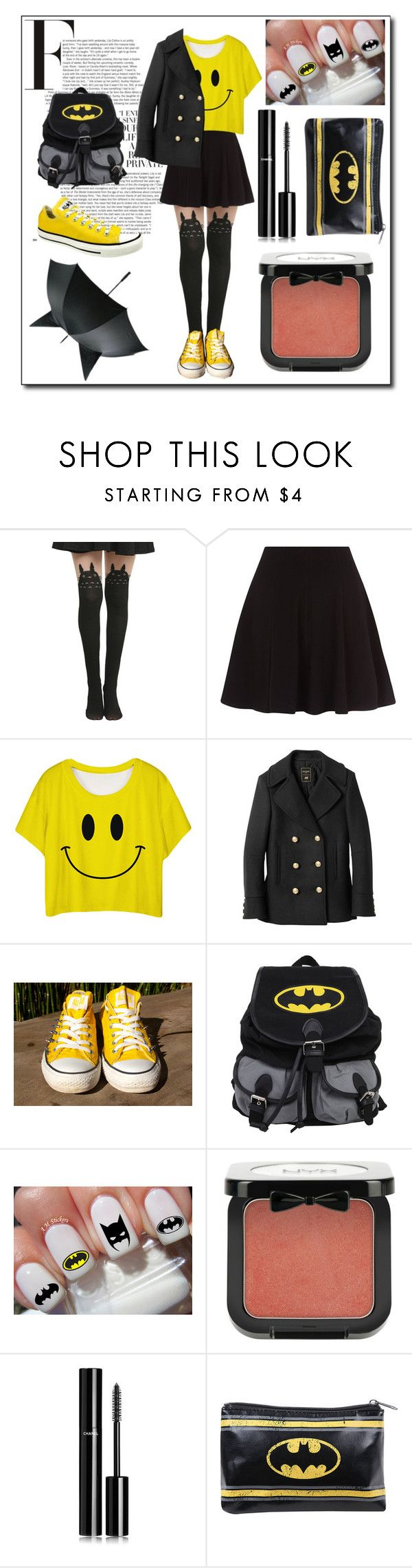 """""""Quick Yellow&Black Style Set (batman/smiley face)"""" by wittysummer24 ❤ liked on Polyvore featuring Ghibli, Balmain, Converse, NYX and Chanel"""