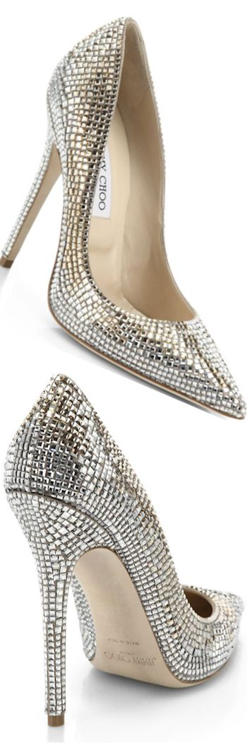 Jimmy Choo ~ Sparkling Leather Stiletto Pumps, Silver