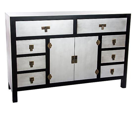 Credenza a 8 cassetti e 2 ante in mdf Tokyo nero e argento, 120x80x38 cm