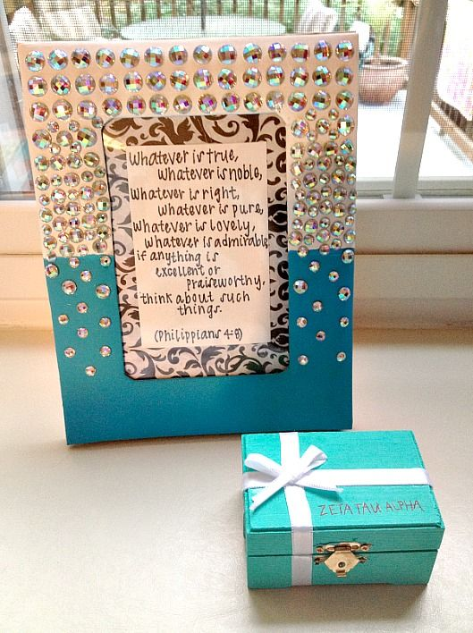 A cute picture frame with a sorority quote is always a nice gift for your little that can be done before school starts! Also, the ADORABLE Tiffany's box! I CAN'T HANDLE IT. It could be a pin box, a money box, anything!