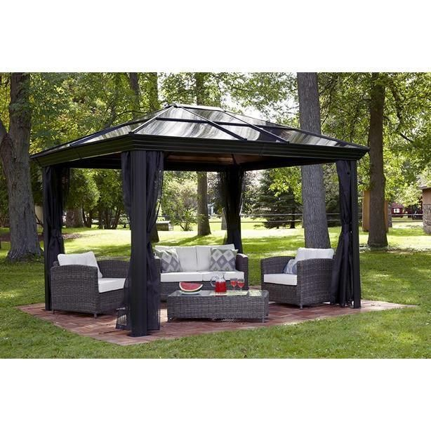Sojag Hardtop Gazebo Ellington 12 X 12 With Mosquito Netting Gazebo Patio Gazebo Aluminum Gazebo