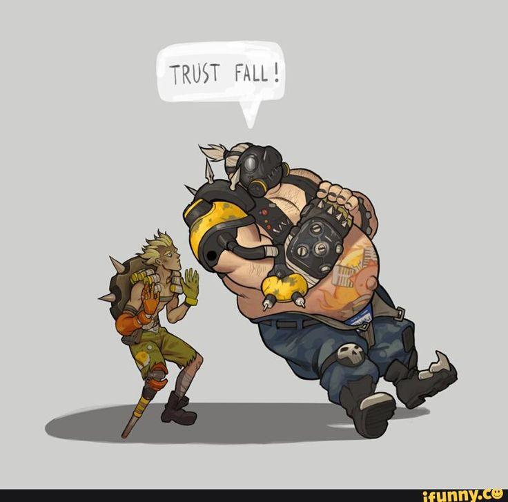 overwatch, roadhog, junkrat, trustfall