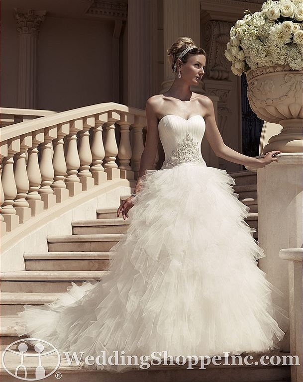 Casablanca Bridal Gown 2114 Fun ball gown style wedding dress with unique layered skirt. #tulle #weddingdress http://www.weddingshoppeinc.com