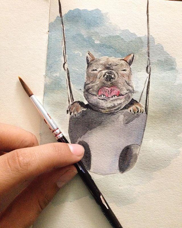 Happy dog #amanoalzada #happy #handmade #dog #dogsofinstagram #perro #ilustration #watercolor #instalovers #mimisereyc #sky #doglovers