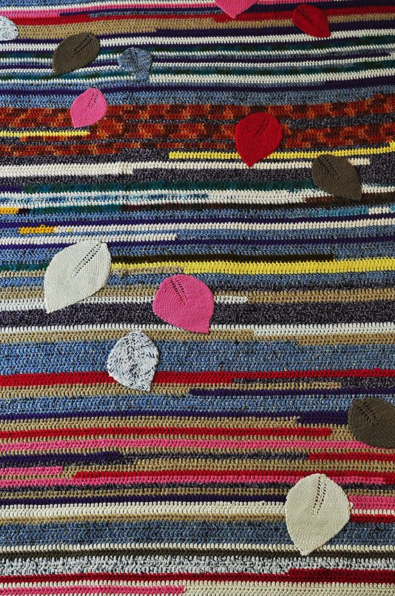 Handmade bedding set Knitted blanket Leaves and a pillow  A bright and soft hand-knitted blanket made from a mix of wool, mohair and acrylic yarn. This