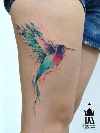 Watercolor Colibri Tattoo On Side Thigh Hummingbird