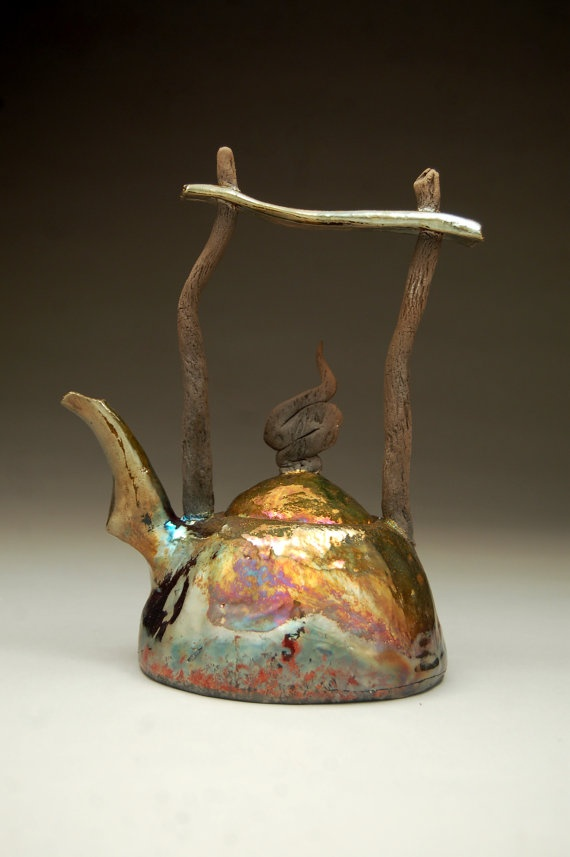 Now this is a teapot! Raku by Ryan Peters on Etsy