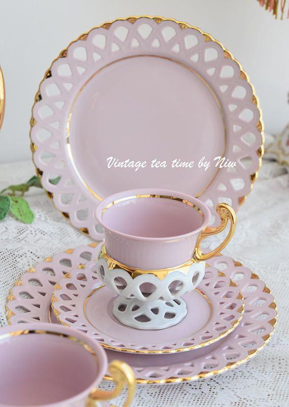 Tea Set Vintage Porcelain Bisant Slav Pink Cup Hch Cups Rose Pinterest