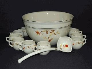 National Autumn Leaf Collectors Club - The Punch Bowl set including 12 cups was made by Hall China. A total of 1,140 of the sets were produced. The ladle shown was not made by Hall China and was offered by C & C Collectibles. 1993