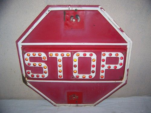 Vintage C 1940 Stop Sign Highway Road Gas Oil W Red Glass
