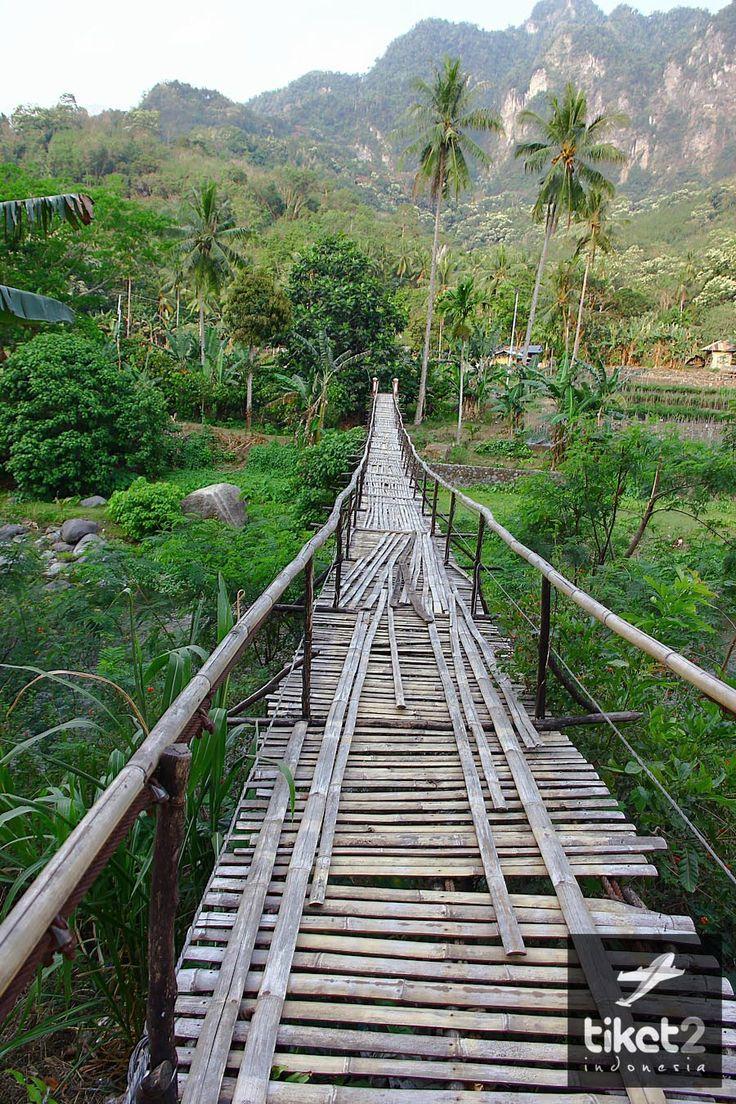 Jembatan bambu disungai Ende, Flores, Indonesia