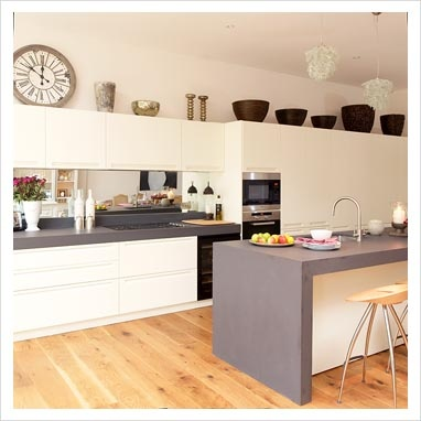 grey / white kitchen add a light grey splashback