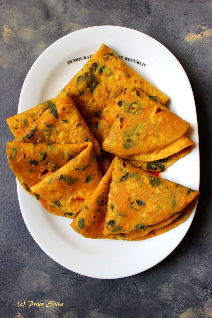 Methi Thepla - Fenugreek leaves flavoured flat Bread..