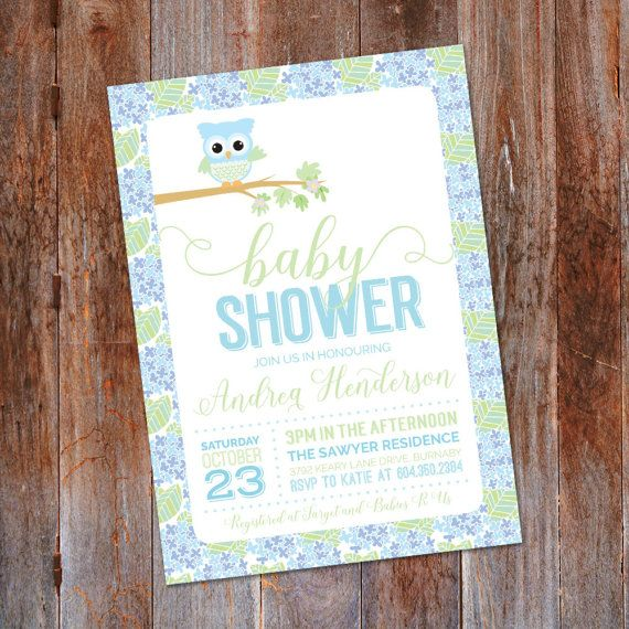 Owl Baby Shower Invitation Owl Invitation It's a Boy