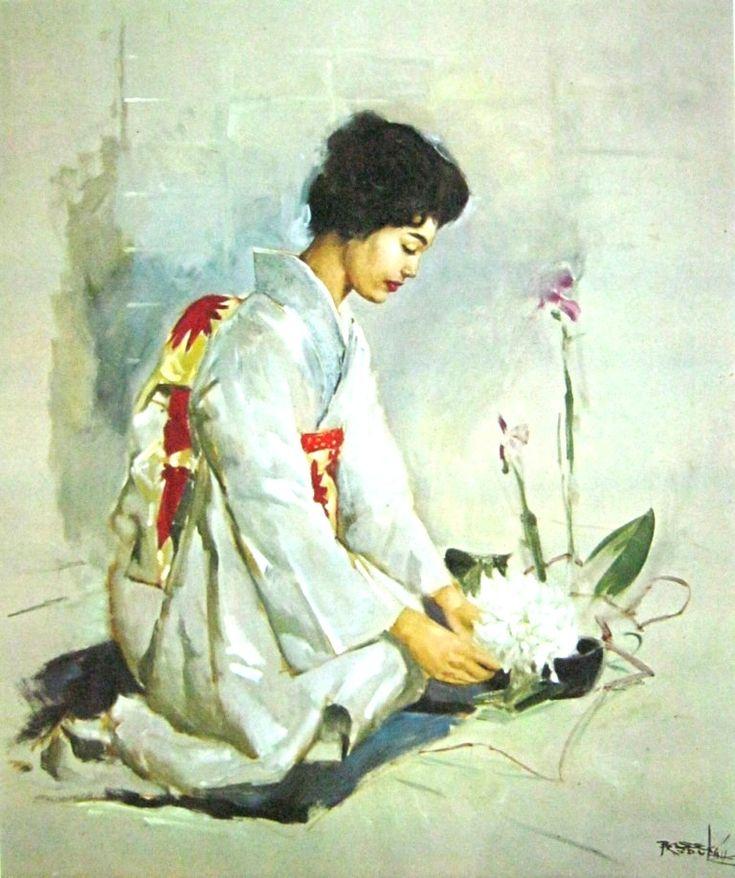 Basoeki Abdullah - Merangkai Bunga