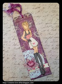 Creative Love Affair: Online Card Class Background Check - Resist Bookmark using Prima Doll stamp Marisol!