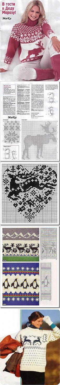 Вязание спицами. Вязание крючком.: Свитер с оленями. Норвежский жаккард