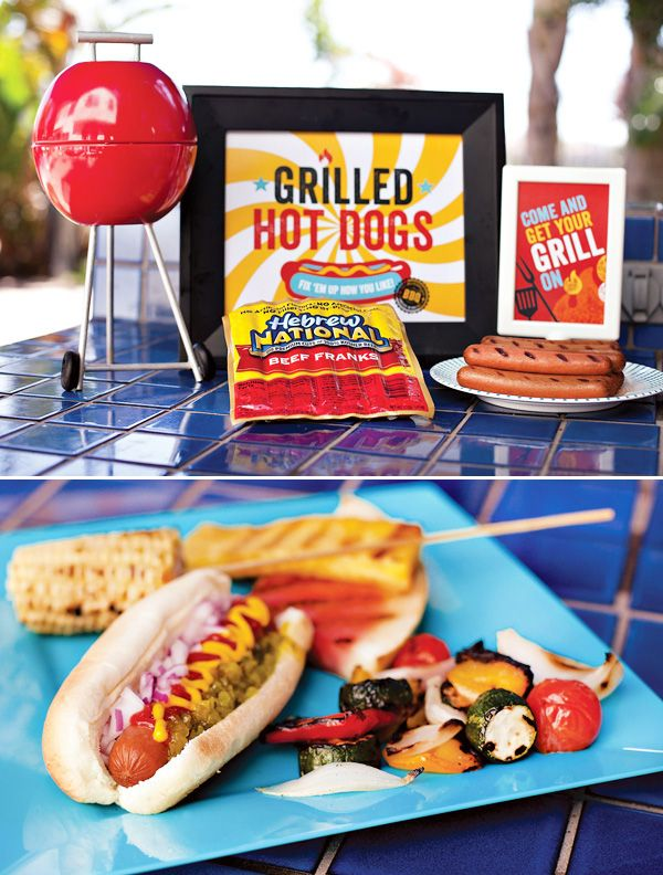 """Summer Grilling Party theme  packed with lots of perfect-for-summer printables that you can download for FREE right here, as well as outdoor party ideas that are both creative and approachable. For example, DIY """"Mini Charcoal Grill"""" centerpieces, refreshing popsicle cocktails, super easy s'mores cupcakes, & an all-decked-out hot dog bar! #Anthropologie #PintoWin"""