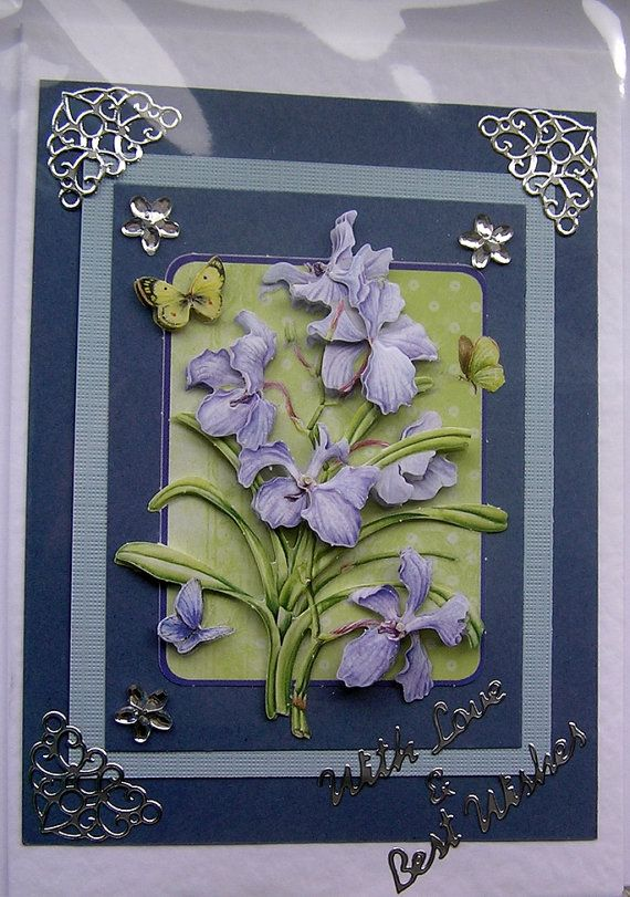 Iris HandCrafted 3D Decoupage Card  With Love by SunnyCrystals, $3.25
