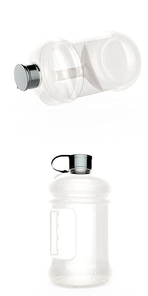 Large 2.2 Litre BPA-Free Sport Gym Half Gallon Water Bottle With Side Handle (whitetransparent)