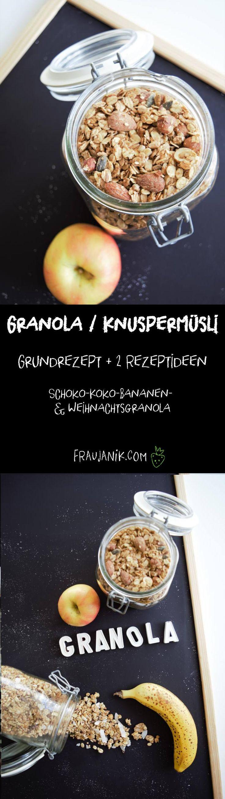 Granola/ Knuspermüsli selber machen | Granola Grundrezept + 2 Rezeptideen. Schoko-Koko-Bananen- & Weihnachtsgranola - Viel gesünder und sooo crunchy... #granola #knuspermüsli #gesund #gesundbacken #weihnachtsgranola #weihnachten