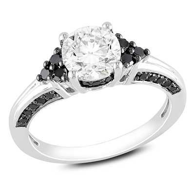 Zales 6.0mm Princess-Cut Lab-Created White Sapphire and 1/8 CT. T.w. Enhanced Black Diamond Ring in Sterling Silver AvgIWwaIk
