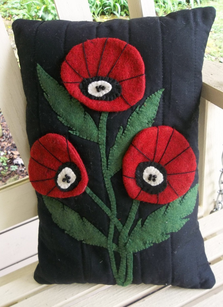 Pillow-Wool Felt Applique-Poppy-Felt Applique-Machine Quilted-Red-Green-Embroidery-Felt Applique Pillow. $20.00, via Etsy.