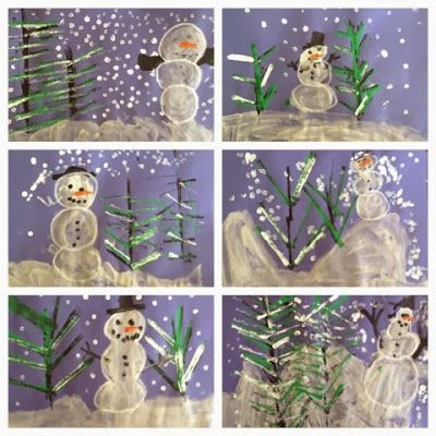 Kindergarten Snowy Winter Landscapes Exploring Art: Elementary Art