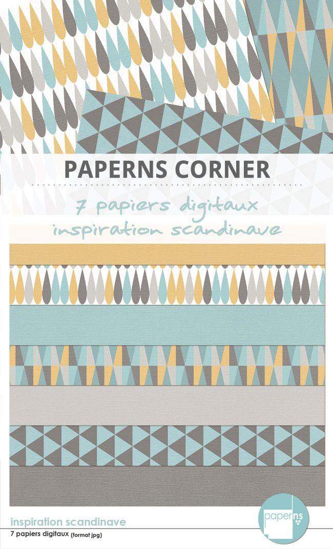 7 papiers digitaux aux couleurs et aux graphismes d'inspiration scandinave à utiliser pour embellir vos pages de scrap digital.