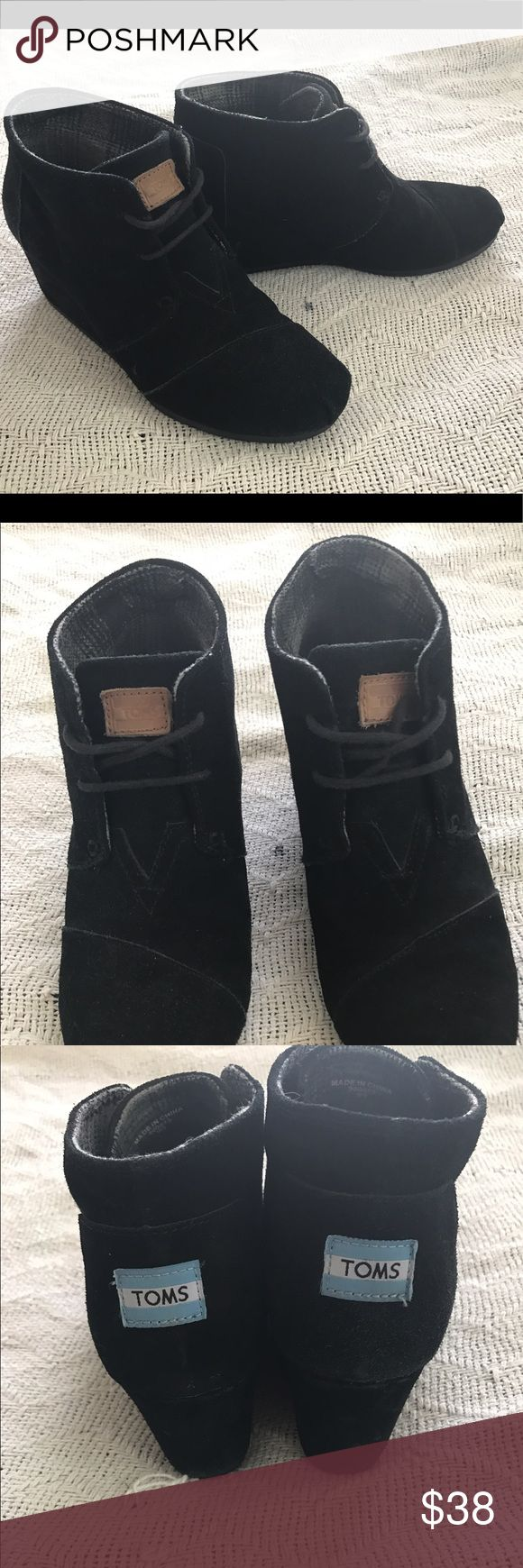 TOMS Desert Wedge Booties Adorable TOMS Desert Wedge shoes! Typical wear shown in photos, no major damage or tears in fabric. TOMS Shoes Ankle Boots & Booties