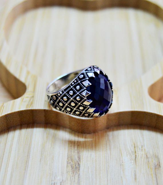 ae9080de96 Mens Handmade Ring, Turkish Handmade Silver Men Ring, Ottoman Men Ring,  Sapphire Ring, cubic zircon, in 2019 | Products | Silver ring designs,  Jewelry, ...