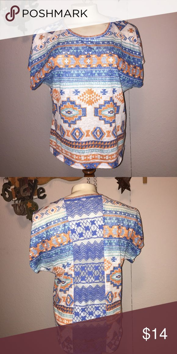 Aztec dolman batwing top L Juniors size large.   ~Be sure to check out my other listings for more great items & save on shipping! ~I ship same day or next day.  ~ I do not hold items.   ~Not responsible for incorrect sizing. I go by what the tag says its up to the buyer to know their sizes.   #aztec #laceback #lace #aztecprint #aztecdesign #shirt #top #dolman #batwing #large #sizelarge #juniors no tag  Tops Blouses