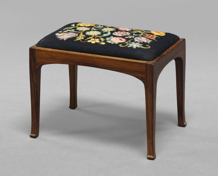 Edward Barnsley Workshop, a rosewood rectangular stool, c. 1950, with needle point upholstery, stamps to rail Barnsley, 49cm high x 61cm diameter - Price Estimate: £80 - £120