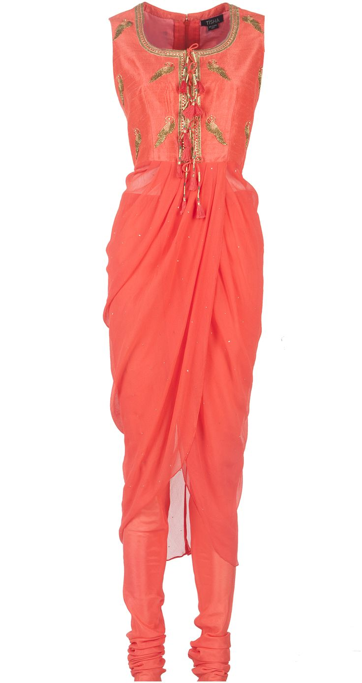 Embroidered coral drape available only at Pernia's Pop-Up Shop.