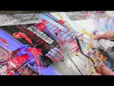 I don't really like the colors he used, but the video is a great demo of abstract painting techniques