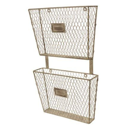 amazoncom metal wall mount 2 tier magazine holder mail holder wall