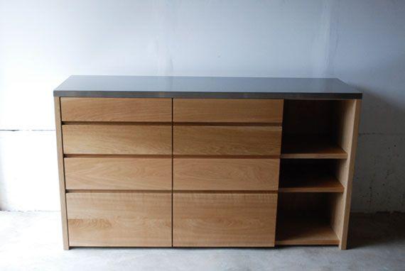 ステンレス天板のキッチンボード   オーダー家具製作   家具工房クレアーレ