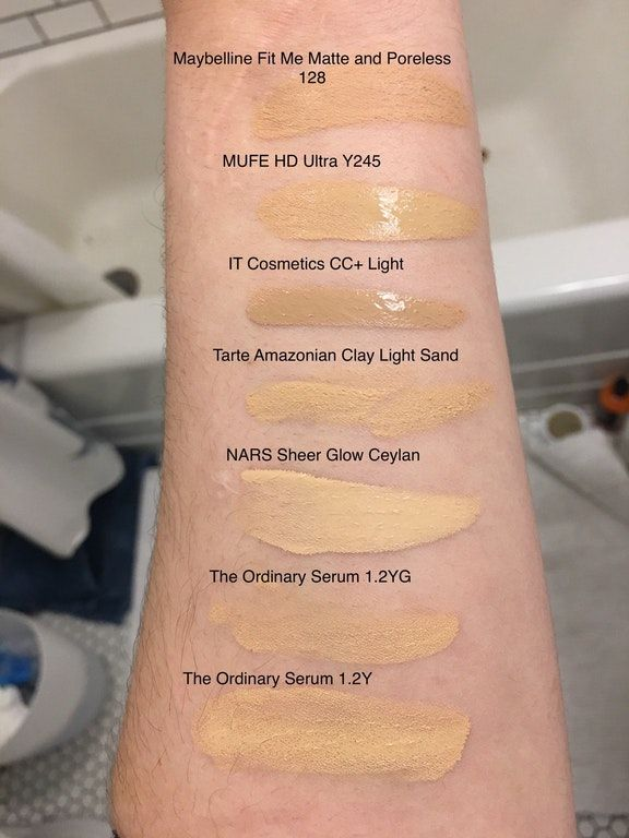 Foundation Comparison Swatches On Nc20 Skin In 2020 The Ordinary Serum Foundation Swatches Foundation For Dry Skin