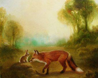 Isabella en de kranen aquarel papier Print door PaintedMoonGallery