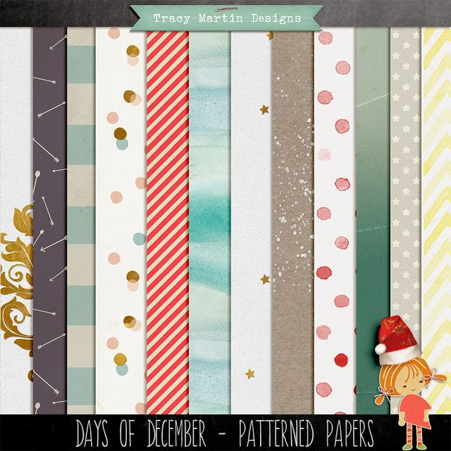Days of December paper pack freebie from Tracy Martin Designs