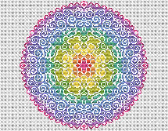 PATTERN Spectral Mandala Cross Stitch Chart by theworldinstitches