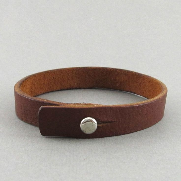 Bracelets For Ladies  :    Mens womens unisex simple brown leather wrap bracelet with stud closure – can be personalised  - #Bracelets https://talkfashion.net/acceseroris/bracelets/bracelets-for-ladies-mens-womens-unisex-simple-brown-leather-wrap-bracelet-with-stud-closure-can-be/