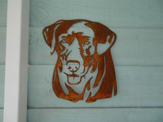 Labrador Head / Rusty Metal Dog Art/ Labrador Garden Art / Dog