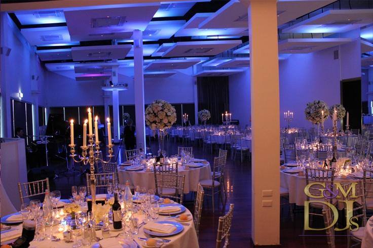 Blue wedding lighting design at Moda Events | G&M DJs | Magnifique Weddings #gmdjs #magnifiqueweddings #weddinglighting #weddingdjbrisbane #modawedding #modaevents @gmdjs @modaeventsvenue