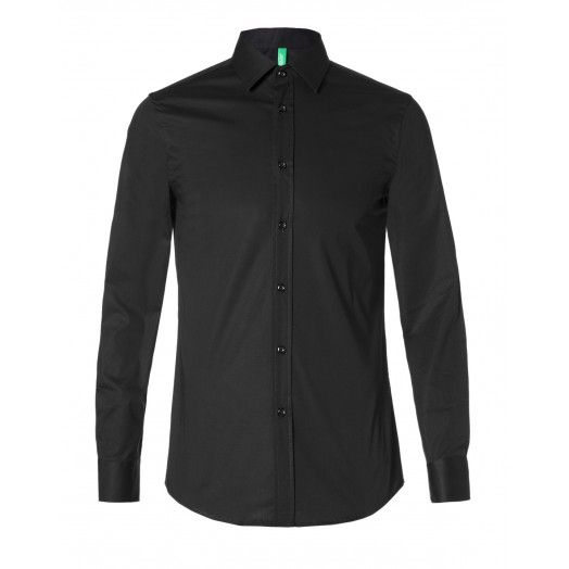 Camicia in popeline, di cotone stretch, vestibilità slim fit.5BH85R488 NERO